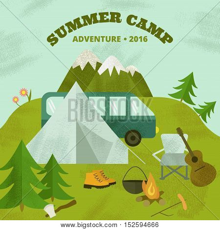 Vector camping template, layout and concept. Includes tent guitar axe fir-tree mountains chair moon travel boots cauldron bonfire.