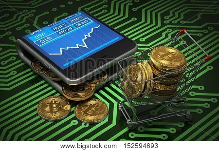 Concept Of Virtual Wallet With Bitcoins And Shopping Cart On Green Printed Circuit Board