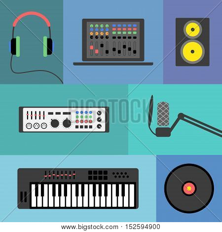Vector music production flat icon set. Speaker laptop headphones microphone amplifier plate synthesizer.