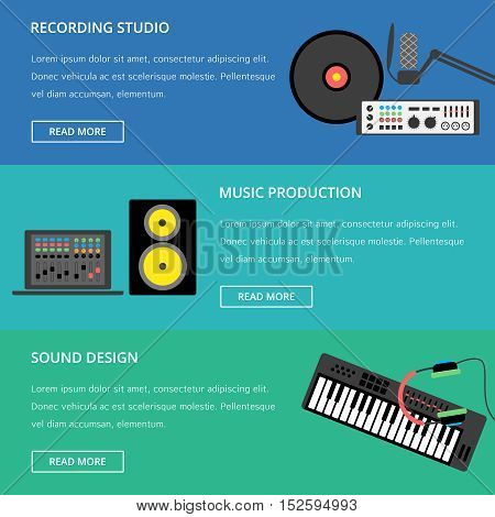 Vector music production template, layout. Speaker laptop headphones microphone amplifier plate synthesizer icons.