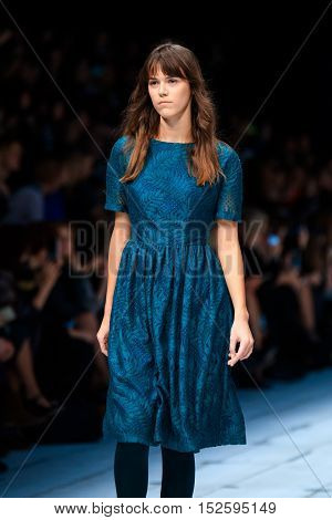 MOSCOW RUSSIA - OCTOBER 17 2016: Model walk runway for FABERLIC by ALENA AKHMADULLINA catwalk at Spring-summer 2017 Mercedes-Benz Fashion Week Russia.