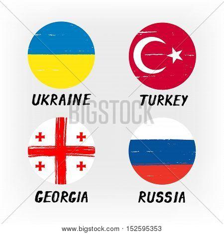 Set Of 4 Flags - Round Icons - Ukraine Turkey Georgia Russia