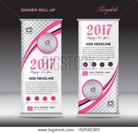 Pink roll up banner template, banner design, stand template ,display template, pull up, happy new year 2017