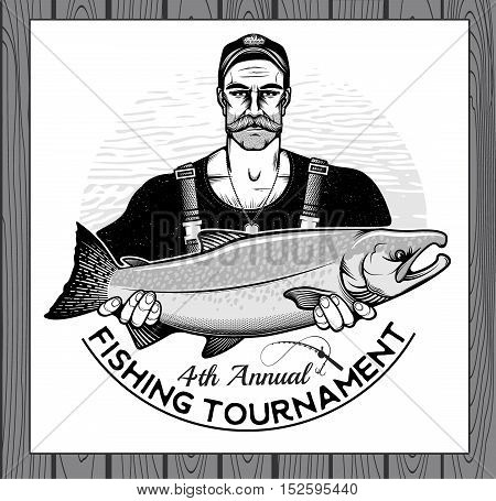 Fisherman Holding a Silver Salmon Fish. Vector Illustration.