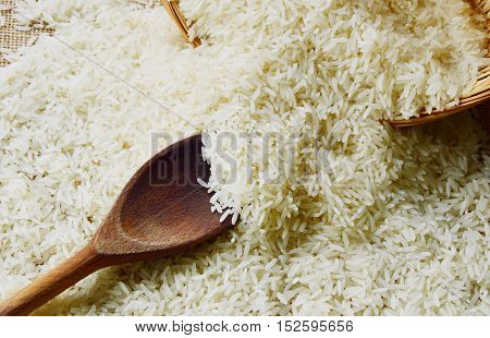 the nutritional value of rice with wooden background