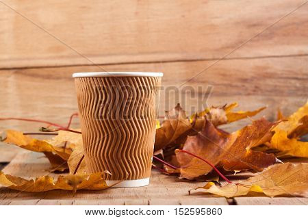 Refrain disposable cup and autumn leaves on wood background