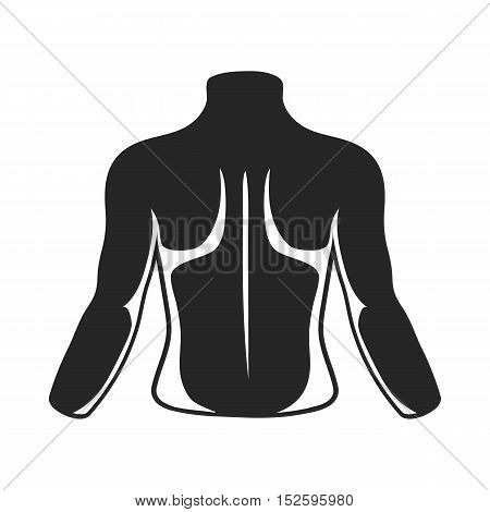 Human back icon in black style isolated on white background. Part of body symbol vector illustration.