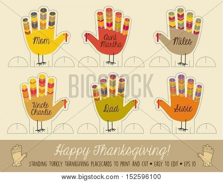 printable turkey place cards for decorating at thanksgiving