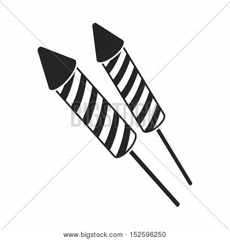 Patriotic fireworks icon in black style isolated on white background. Patriot day symbol vector illustration.