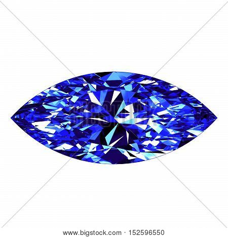 Sapphire Marquise Cut Over White Background. 3D Illustration.