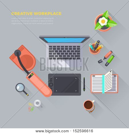 Creative workplace objects top view on grey background flat isolated vector illustration