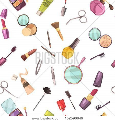 Makeup cosmetic beauty case accessories flat seamless pattern with nail polish mascara lips stick abstract vector illustration