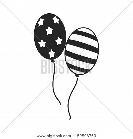 Patriotic balloons icon in black style isolated on white background. Patriot day symbol vector illustration.