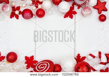 Red And White Christmas Ornament Double Border With Snow Frame On A White Wood Background