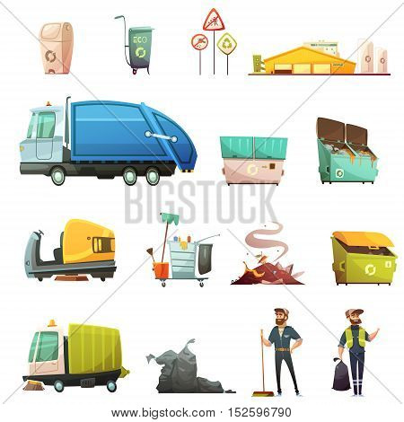 Garbage sorting and recycling process cartoon icons set with yard waste collecting in eco containers isolated icons illustration