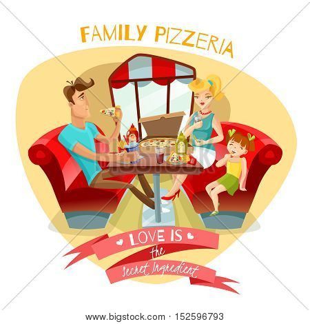 Family pizzeria design concept with  young parents and their daughter at dinner table in pizzeria interior flat vector illustration