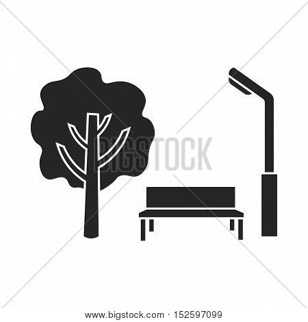 Park icon in black style isolated on white background. Play garden symbol vector illustration.