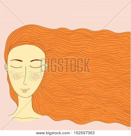 Vector simplified image of a young blonde with a pale skin on a pink background. Girlish themes illustration for women informational sources (magazines books papers) sites and blogs. Decoration of SPA and fashion themes.