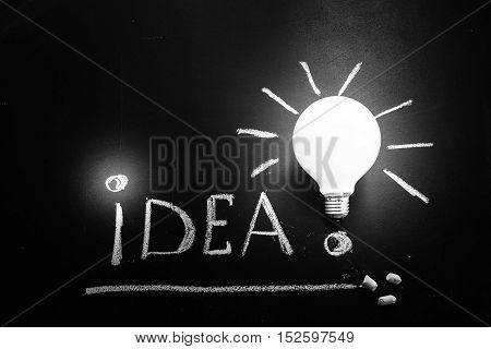 The title Idea! written by white chalk and the light bulb on the black chalkboard light bulb idea business idea business concept Innovation concept