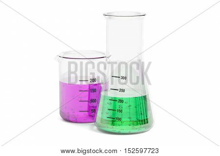 Set of flasks with colored liquid 3D rendering isolated on white background