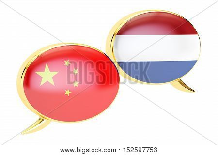 Speech bubbles Dutch-Chinese translation concept. 3D rendering