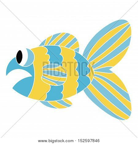 Cartoon colorful sad fish isolated on white background. Fish's mouth opened in shock. Vector illustration.