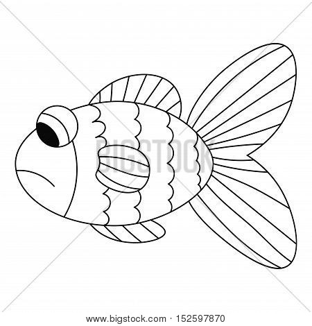 Sad black thin line contour fish isolated on white background for coloring book. Vector illustration.