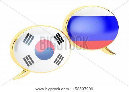 Speech bubbles Korean-Russian translation concept. 3D rendering