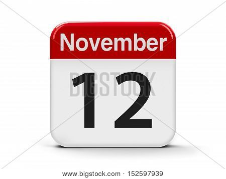 Calendar web button - The Twelfth of November - World Pneumonia Day three-dimensional rendering 3D illustration