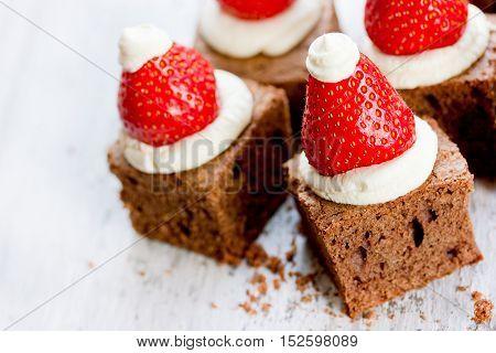 Santa hat brownie Christmas baking ,american cuisine