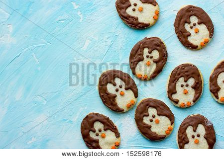 Christmas penguin cookies sweet treats for kids top view