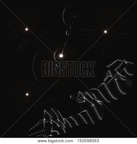 Black and white ribbon and circles abstract vector background