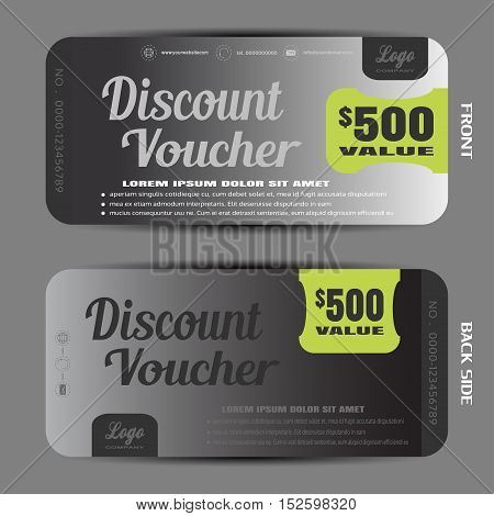 Blank of steel discount voucher vector illustration to increase sales on the gradient background.