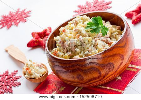 Traditional Russian salad Olivier - Christmas food for festive dinner