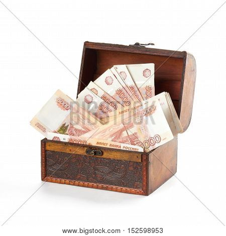 A lot of russian money roubles in small wooden chest.