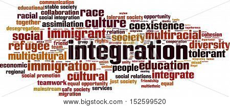 Integration word cloud concept. Vector illustration on white