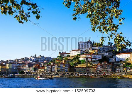 Porto Portugal old town view from across the Douro River in natural frame of leafs