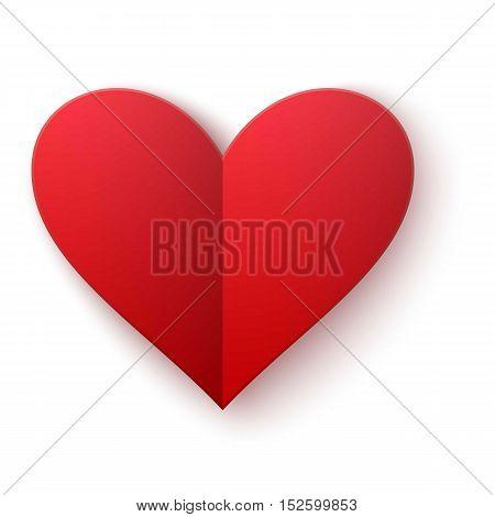 Simple red heart sharp vector icon. bright emoticon red heart symbol.