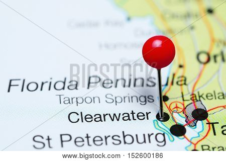 Clearwater pinned on a map of Florida, USA