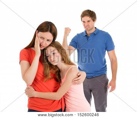 Daughter Comforting Mother While Her Parent Having Conflict Isolated On White Background