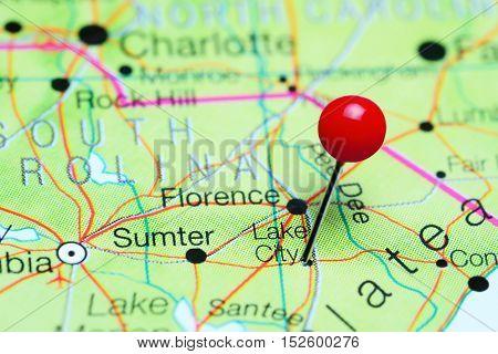 Lake City pinned on a map of South Carolina, USA