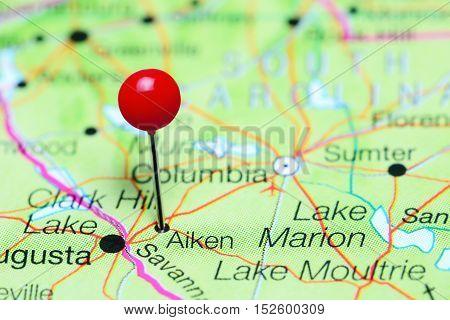 Aiken pinned on a map of South Carolina, USA