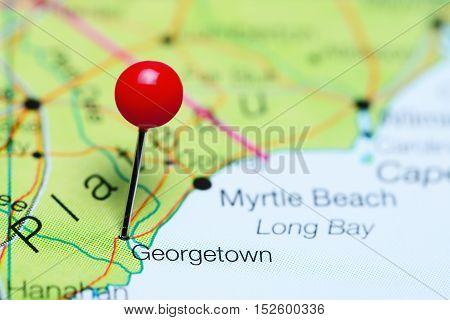 Georgetown pinned on a map of South Carolina, USA
