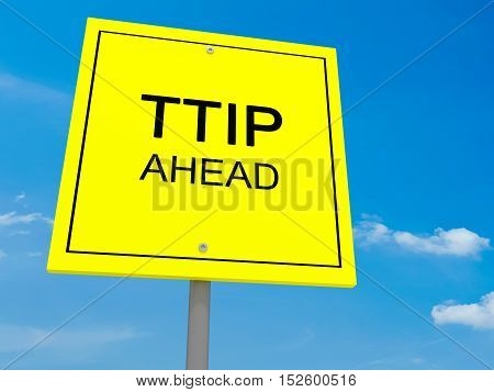 Yellow Road Sign TTIP Ahead Against A Cloudy Sky 3d illustration