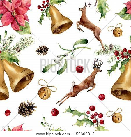 Watercolor christmas seamless pattern with deers and decor. New year tree ornament with deer, bell, holly, mistletoe, poinsettia, orange slice, pine cone and bow for design, print or background.