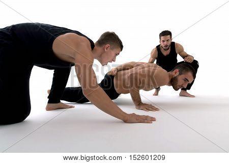 Motivating man doing push ups. Strength and motivation.