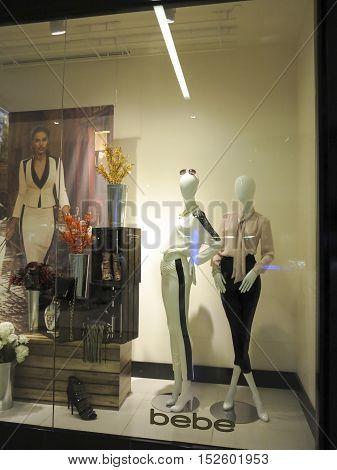 ALBERTA, CANADA - SEPTEMBER 23, 2014: Detail of Bebe store in Alberta Canada.