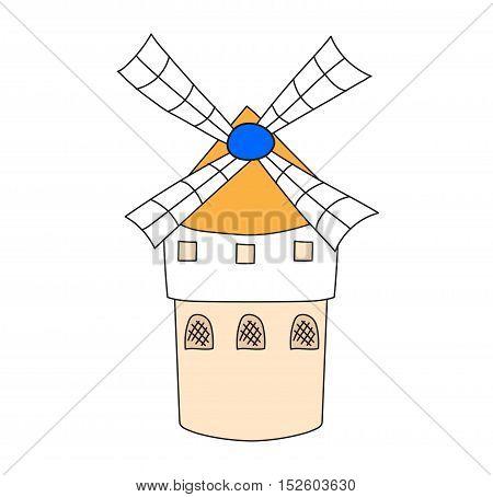 Ancient windmill symbol vector illustration.