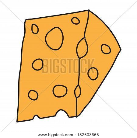 Cheddar cheese slice on white background.