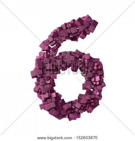 numbers from cubes, 6, six, 3d illustration